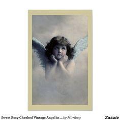 Anjo rosado doce do vintage de Cheeked nas nuvens Poster