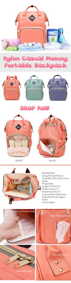 US$37.56 Nylon Casual Mommy Portable Backpack Shoulder Multifunctional Bag