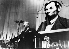Winston Churchill speaking at the Royal Albert Hall in the year 1944 on Thanksgiving day.    http://semioticapocalypse.tumblr.com
