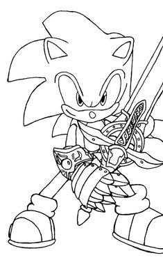 sir sonic sonic met het zwaard een ridder kleurplaat