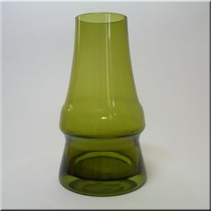 Riihimäen Lasi Oy / Riihimaki olive green glass 'Piippu' (chimney) vase by Aimo Okkolin.