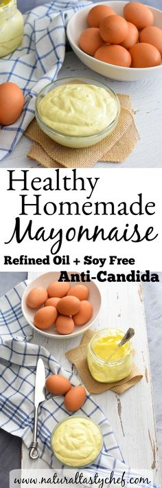Healthy Homemade Mayonnaise that's free of refined oils and sugar. Easy Clean Eating Recipes, Healthy Recipes On A Budget, Whole Food Recipes, Paleo Recipes, Family Recipes, Healthy Foods, Healthy Eating, Anti Candida Diet, Candida Diet Recipes