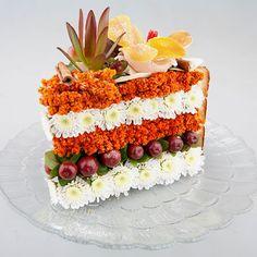Have a bite! Floral art cake slice