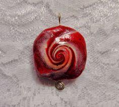 Red Swirl Bead Polymer Clay Focal Bead Pendant - DeCicco #DeCicco #mermaid