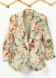 Vintage Floral Print Ladies Blazer