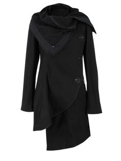 HIGH  En Rapt Black Coat    High – En Rapt, womens mid length black coat with a draped fold over collar and curved asymmetric fastening. Other details include a laced cuff, two double front pockets, a panelled fitted rear with an off centre laced opening and 'High' hang loop.