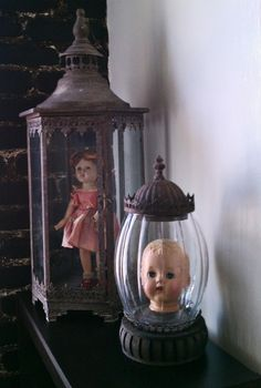 Creepy.....would be great Halloween decoration.  I think my mom still has some of my sisters old dolls, I will use hers. lol