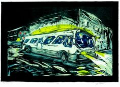 color block print of New Orleans bus