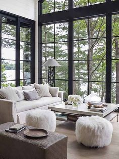 Living Room Big Window Lamps Ideas 209 Best Large Windows Images Future House Home Decor Tour An Interior Designer S Stunning Canadian Cabin Oasis Cottage Windowsliving