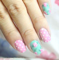 Pink And Mint Polkadot Floral Nails