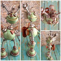 Robot Cupid with Mohawk Sculpture by HerArtSheLoves.deviantart.com on @deviantART