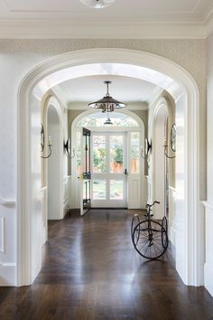 New TennesseeStyle Farmhouse Foyer Foyer Architectural Detail American TraditionalNeoclassical Farmhouse by Tim Barber Ltd Colonial House Interior, Luxe Interiors, Foyer Decorating, Colonial Revival, Colonial Style Homes, Entry Foyer, New Homes, House, Farmhouse Foyer