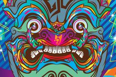 YAK PROJECT, by Pichet Rujivararat (aka Tikkywow, graphic artist from Bangkok, Thailand) | artist reinterprets the fearsome faces of 'Yak', a race of giants whose statues guard Buddhist temples from evil spirits. Inspired by elements of traditional Thai art and culture, Tikkywow places these legendary mythical beings in a modern, colorful, and graffiti-inspired world using an eye-popping vector graphic style.