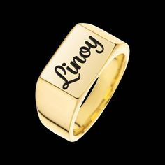 Items similar to Gold Name Ring - Personalized Signet Ring - Custom Name Ring - Engraved Ring - Personalized Ring - Personalized Jewelry - Personalized Gift on Etsy