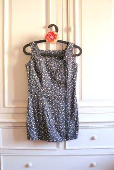 Tunique sans manche, Femme Taille 36, Tissu Coton Fleurs Bleu et Ecru : Chemises, blouses par mon-armoire-jolie