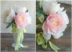 реалистичные пионы из гофрированной бумаги, мастер-класс, мк, МК, цветы из бумаги своими руками
