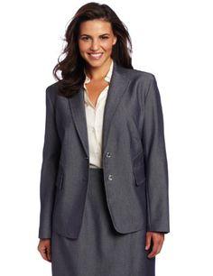 good AK Anne Klein Women's Indigo Twill Fitted Jacket