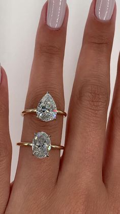 Elongated shapes with two tone hidden halo settings. Which would you choose? The pear or the oval? Both are extremely flattering on hand Engagement Ring Shapes, Beautiful Engagement Rings, Beautiful Rings, Diamond Engagement Rings, Oval Shaped Engagement Rings, Ring Verlobung, Dream Ring, Diamond Are A Girls Best Friend, Cute Jewelry