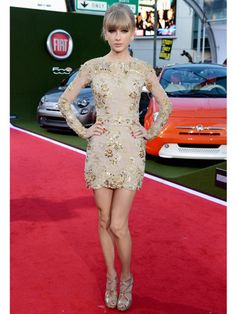 Go for the gold in a long-sleeved sequined mini like Taylor Swift!