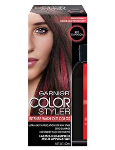Garnier Color Styler Intense Wash-Out Haircolor, Red Temptation oz Wash Out Hair Color, Perfect Hair Color, Hair Color Brands, Color Dust, Allure Beauty, Hair Color Shades, Permanent Hair Color, Your Hair, How To Find Out