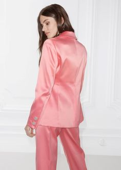 & Other Stories image 3 of Heart Button Blazer in Pink