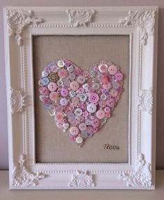 Handmade Pink Button And Bead/Love Picture-Little Girl/Christening Gift Now up FOR SALE on Ebay!
