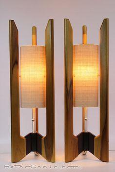 Retro Grain Table Lamps Pair Danish Modern Mid Century Style Teak Wood   eBay