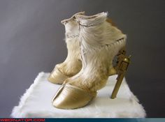 Awesome hoof gun shoes - http://fancynotions.wordpress.com/2010/01/27/donkey-hodie-would-approve/