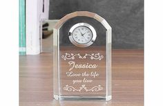 Personalised Heart Swirl Crystal Clock This Personalised Heart Swirl Crystal Clock makes a wonderful gift that fits many occasions.The clock can be engraved with a name up to 12 characters and any message over to 2 lines with up to 15 char http://www.comparestoreprices.co.uk/personalised-gifts/personalised-heart-swirl-crystal-clock.asp