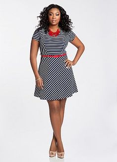 Ashley Stewart: Striped Full Skirt Dress