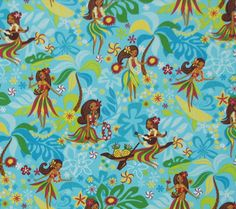 Hula girls, palm trees and monstera on a pink or blue background. Kids Room Decor Hawaii, Craft Supplies, Kids Clothing, Cotton  by gBagHawaii on Etsy