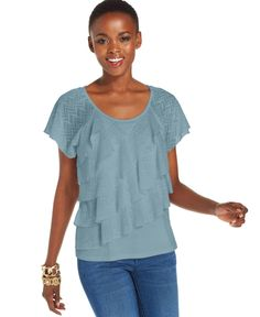 Ny Collection Petite Tiered Lace Ruffle Top