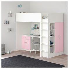 СТУВА / ФРИТИДС Кровать-чердак/3 ящика/2 дверцы - белый/светло-розовый - IKEA