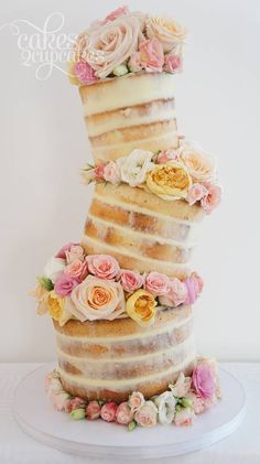 """Cakes 2 Cupcakes - Engagements and Weddings~ Love how the tiers are done and this is a great """"naked"""" cake for those who prefer less icing! Gorgeous Cakes, Pretty Cakes, Amazing Cakes, Cake Cookies, Cupcake Cakes, Nake Cake, Kreative Desserts, Wedding Cake Inspiration, Wedding Ideas"""