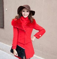Women's European-Style Thigh-Length Fur Collar 2-PC Fashion Winter Wool Coat 4 Colors S-XL