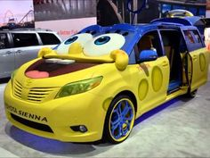 "2016 Toyota Sienna SpongeBob Squarepants design at LA Auto Show 2014 - Pretty much the scariest car at the LA Auto Show. It was created to assist in marketing the new Spongebob movie ""Sponge Out of Water"""