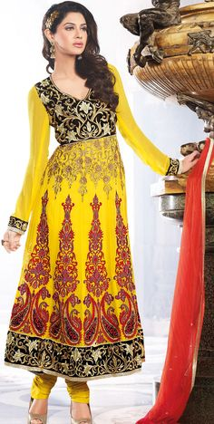 #Yellow Faux Georgette #Churidar #Anarkali Suit  | @ $159.71