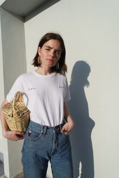 Buy the Collina Strada Call Mom Embroidered Tee at Need Supply Co. Style Outfits, Summer Outfits, Cute Outfits, Fashion Outfits, Look Fashion, Streetwear, Street Style, Style Inspiration, Clothes For Women