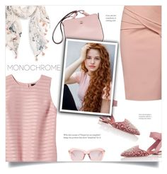 """""""Color Me Pretty: Head-to-Toe Pink"""" by catchsomeraes ❤ liked on Polyvore featuring Banana Republic, Caslon, Aquazzura, WtR, Karen Walker and monochromepink"""