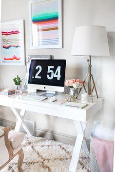 home office framed-art decorating idea