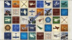 "40 Blocks Quilting Treasures Dan Morris ""Aviator"" 24752-E Airplanes Fabric Priced Per Panel 23.5""X44"""