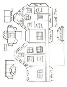My General Store Pattern. Christmas Village Houses, Putz Houses, Christmas Villages, Mini Houses, Miniature Houses, Doll Houses, Miniature Dolls, Miniature Christmas, Christmas Paper