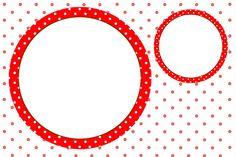 Vermelho e Branco Bolinhas – Kit Completo com molduras para convites, rótulos para guloseimas, lembrancinhas e imagens!