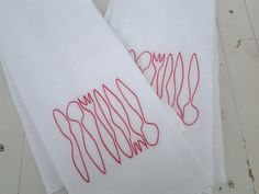Hot Pink Embroidered Dish Towel Set of Two by ModernMeetsClassic, $16.00