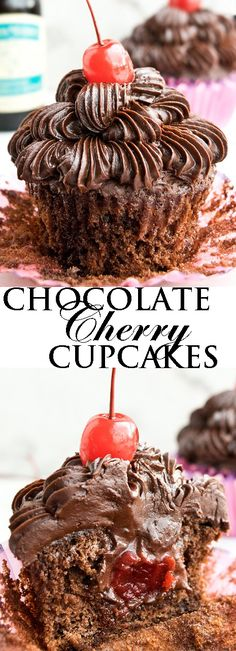 This CHOCOLATE CHERRY CUPCAKES recipe is made from scratch, using maraschino cherries. These soft and moist cupcakes are also stuffed with fudgy cherry truffles. Great for wedding parties or even birthdays. From cakewhiz.com