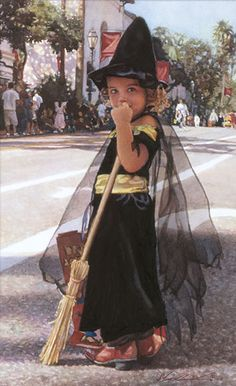 """Beautiful painting by, Steve Hanks- Bewitching While in downtown Santa Barbara, California, Steve Hanks happened upon a Halloween parade. """"It really just fell into my lap,"""" he says. """"It's a great thing to paint. Children in costume have become a favorite subject of mine because they wear them with such comfort and pride. I love their innocent unselfconsciousness."""""""