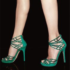 Strappy emerald heels by Jimmy Choo Black Dress Sandals, Silver Sandals, Women's Sandals, Crazy Shoes, Me Too Shoes, Jimmy Choo, Zapatos Shoes, Beautiful Shoes, Shoe Boots