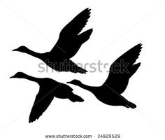 vector silhouette flying geese on white background by basel101658, via Shutterstock