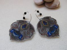Hand painted  hamsa  earrings Brown and blue by ruthreizin on Etsy,