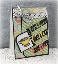 Handmade card by Julee Tilman using the Delightful & Delicious set and Coffee Word Die from Verve. #vervestamps #coffeelovingpapercrafters